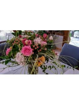 Bouquet pastel rose et orange