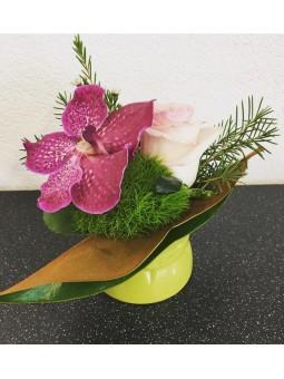 Petit arrangement vanda rose
