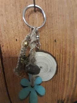 Porte-clé fleur blue