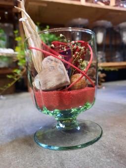 Rose stabilisée dans son verre